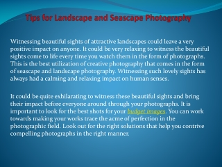 Tips for Landscape and Seascape Photography