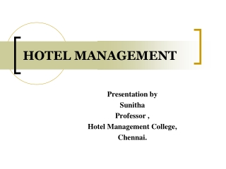 Hotel Management Courses in Chennai