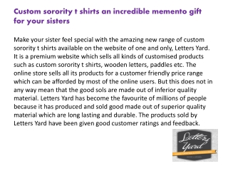 Custom Sorority t shirts an Incredible Memento Gift for your