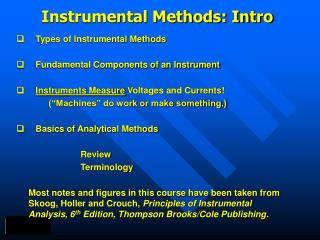 Instrumental Methods: Intro