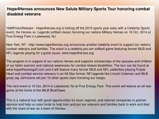 Hope4Heroes announces New Salute Military Sports