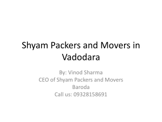 Best Service Provider Packers and Movers in Vadodara