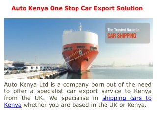 Shipping Vehicles to Kenya