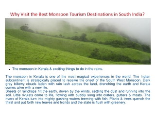 Why Visit the Best Monsoon Tourism Destinations in South Ind