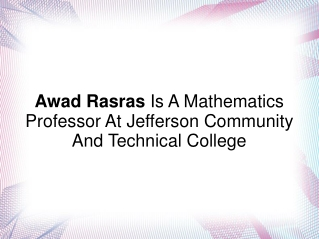 Awad Rasras Is A Mathematics Professor At Jefferson College