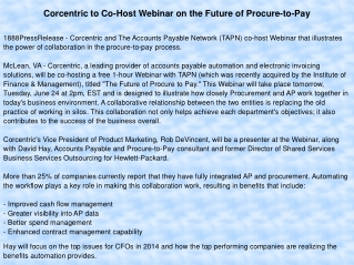 Corcentric to Co-Host Webinar on the Future of Procure