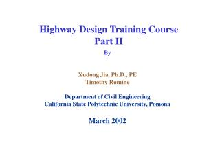Highway Design Training Course Part II