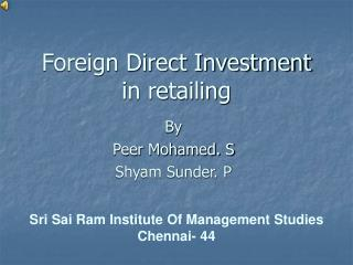 Foreign Direct Investment in retailing