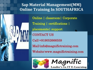 Sap Material Management(MM) Online Training In SOUTHAFRICA