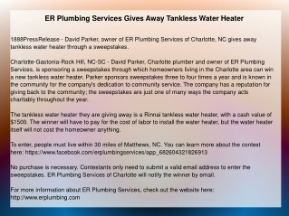 ER Plumbing Services Gives Away Tankless Water Heater