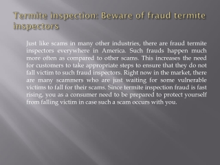Termite inspection: Beware of fraud termite inspectors