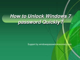 How to Unlock Windows 7 admin password on Asus