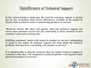 Significance of Technical Support