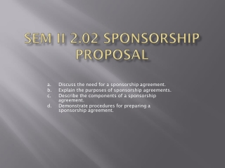 SEM II  2.02 Sponsorship  proposal