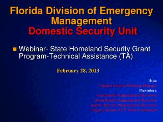 Florida Division of Emergency Management Domestic Security Unit