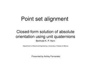 Point set alignment