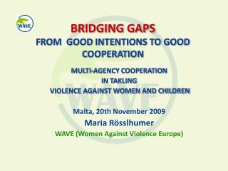 BRIDGING GAPS FROM  GOOD INTENTIONS TO GOOD COOPERATION