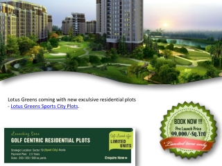 Lotus Greens Sports City Plots Noida Call - 9999999237
