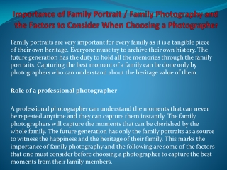 Family Photography and the Factors to Consider When Choosing