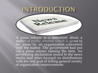 Press Release Definition
