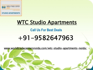 WTC Studio Apartments Noida |WTC Studio Apartments