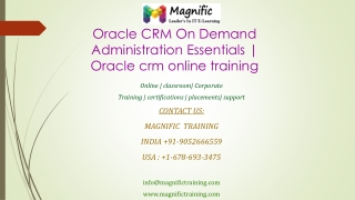 Oracle CRM On Demand Administration Essentials  Oracle crm o