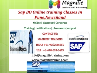 Sap BO Online training Classes In Pune,Newziland