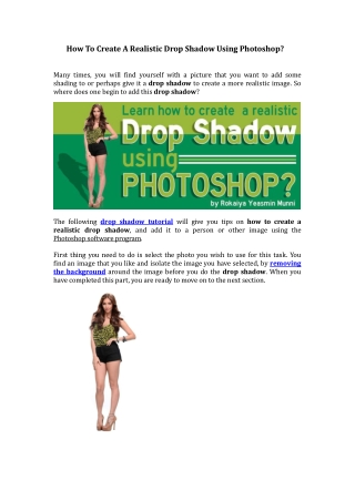 How To Create A Realistic Drop Shadow Using Photoshop