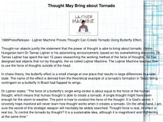 Thought May Bring about Tornado