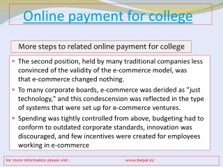 The option for online payment for college