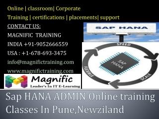 Sap HANA ADMIN Online training Classes In Pune,Newziland