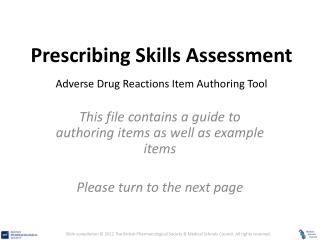 Prescribing Skills Assessment Adverse Drug Reactions Item Authoring Tool