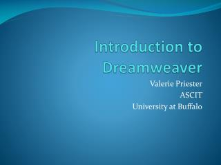Introduction to Dreamweaver