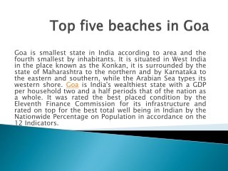 Top five beaches in Goa