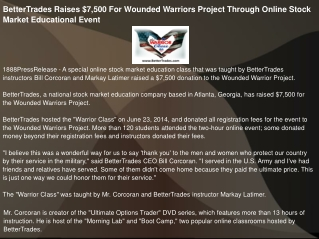 BetterTrades Raises $7,500 For Wounded Warriors Project