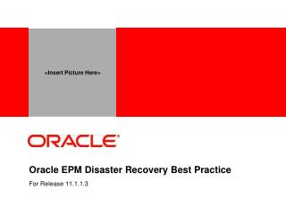 oracle epm disaster recovery best practice