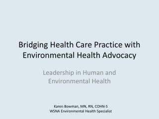 Bridging Health Care Practice with Environmental Health Advocacy