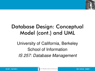 Database Design: Conceptual Model (cont.) and UML