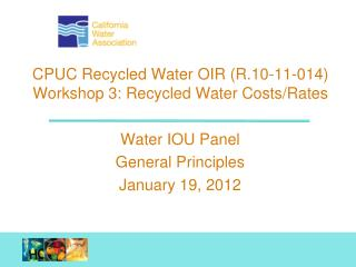 Water IOU Panel General Principles January 19, 2012