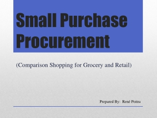 Small Purchase Procurement