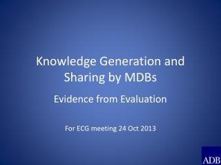 Knowledge Generation and Sharing by MDBs