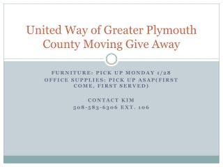 United Way of Greater Plymouth County Moving Give Away