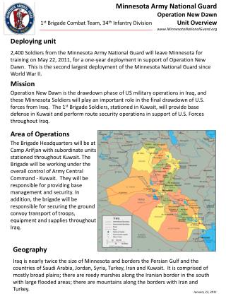 Minnesota Army National Guard Operation New Dawn Unit Overview www.MinnesotaNationalGuard.org