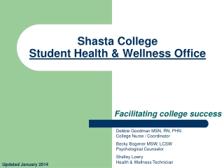Shasta College  Student  Health & Wellness  Office