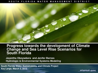 Progress  towards the development of Climate Change and Sea Level Rise Scenarios for South  Florida