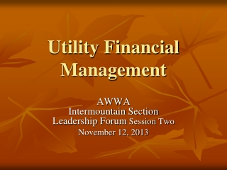Utility Financial Management