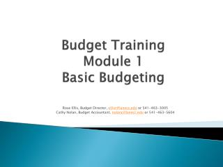 Budget Training Module 1 Basic Budgeting