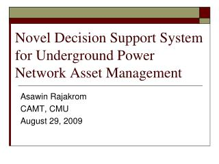 Novel Decision Support System for Underground Power Network Asset Management