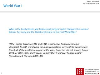 What is the link between war finance and foreign trade? Compare the cases of Britain, Germany and the Habsburg Empire i