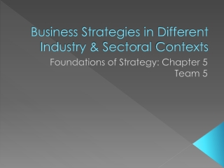 Business Strategies in Different Industry &  Sectoral  Contexts